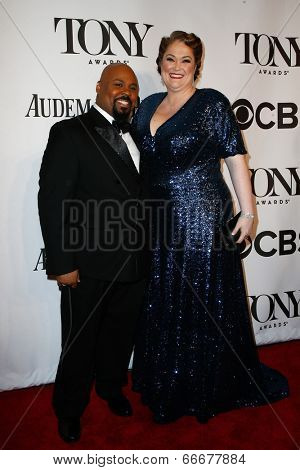 NEW YORK-JUNE 8: Actor James Monroe Iglehart and wife Dawn Iglehart attend American Theatre Wing's 68th Annual Tony Awards at Radio City Music Hall on June 8, 2014 in New York City.