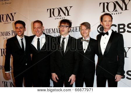 NEW YORK-JUNE 8: Actor Neil Patrick Harris (R) and cast of Hedwig the Angry Inch attend American Theatre Wing's 68th Annual Tony Awards at Radio City Music Hall on June 8, 2014 in New York City.