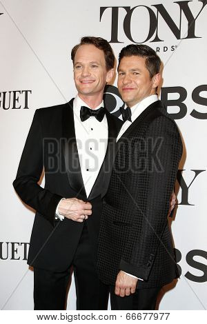 NEW YORK-JUNE 8: Actor Neil Patrick Harris (L) and David Burtka attend American Theatre Wing's 68th Annual Tony Awards at Radio City Music Hall on June 8, 2014 in New York City.