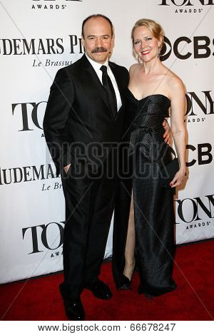 NEW YORK-JUNE 8: Actor Danny Burstein (L) and Rebecca Luker attend American Theatre Wing's 68th Annual Tony Awards at Radio City Music Hall on June 8, 2014 in New York City.