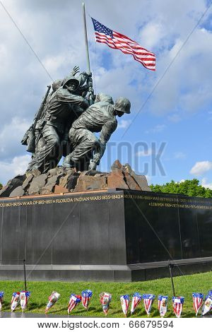 WASHINGTON, DC - MAY 25, 2014: Iwo Jima Memorial in Washington, DC. The Memorial honors the Marines who have died defending the US since 1775 and a prominent tourist attraction in Washington DC.