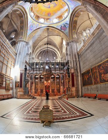 JERUSALEM, ISRAEL - MARCH 9, 2012: Church of the Holy Sepulcher in Jerusalem. The picture was taken Fisheye lens
