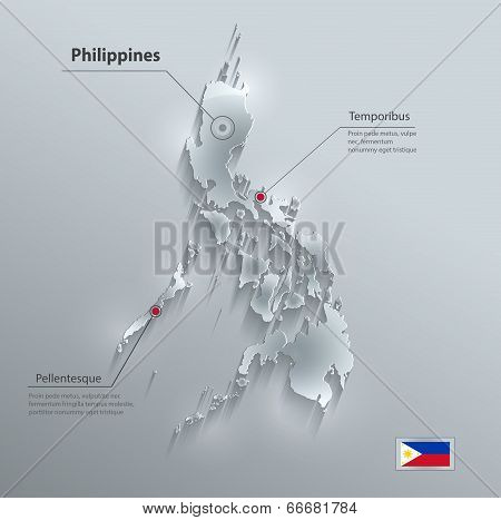 Philippines map glass card paper 3D vector