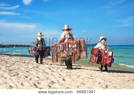 Thai Women Selling Beachwear At Beach In Koh Samui, Thailand.