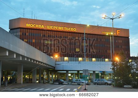 MOSCOW, RUSSIA - MAY 17, 2014: People near the terminal F of the International airport Sheremetyevo in early morning. Last two years it was recognized as the best airport in Europe in service quality