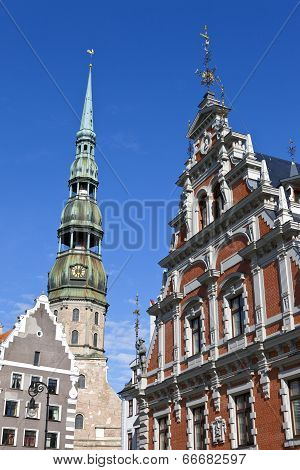 House Of The Blackheads And St. Peter's Church In Riga