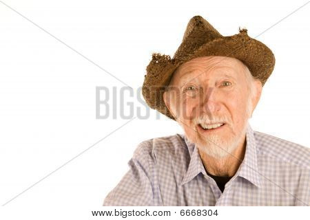 Senior Man In Straw Hat
