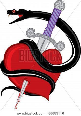 Snake knife heart