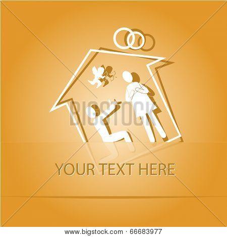 Home affiance. Paper sticker as bookmark. Vector illustration. Eps10.