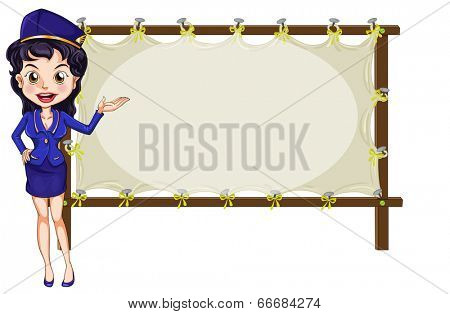 Illustration of a hostess presenting the empty template on a white background