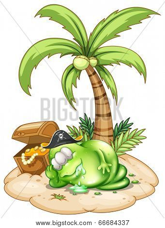 Illustration of a sleeping pirate monster under the coconut tree on a white background