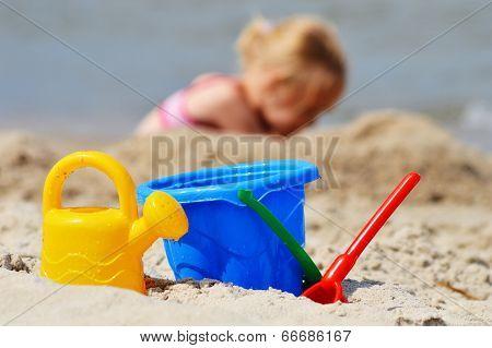 Plastic Toys On The Sand Beach