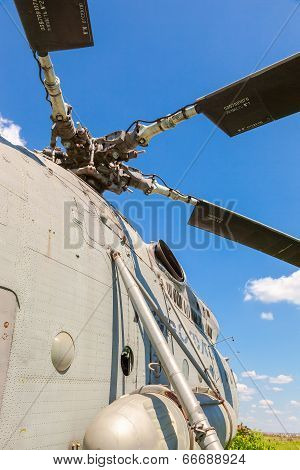 Samara, Russia - May 25, 2014: Turbine Of Heavy Transport Helicopter Mi-6 Against Blue Sky. The Mil
