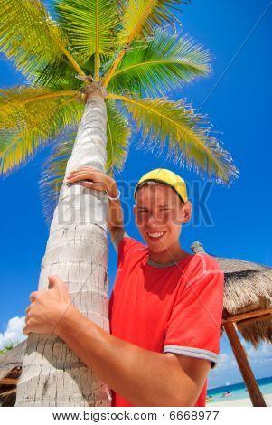 Teen and palm tree