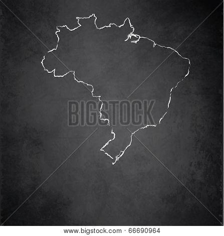 Brazil map blackboard chalkboard raster