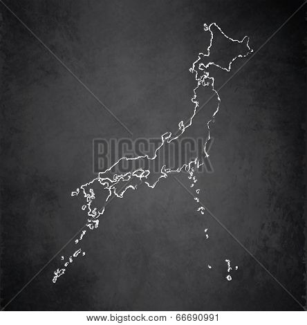 Japan map blackboard chalkboard raster