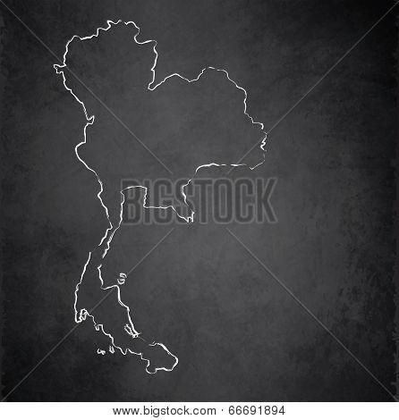 Thailand map blackboard chalkboard raster