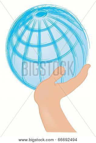 Globe Supported With The Hand