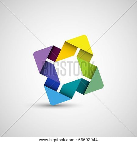 Abstract colorful shape, folded paper loop, eps10 vector