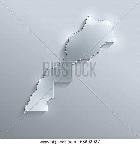 Maroco map glass card paper 3D raster