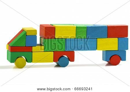 Freight Truck Toy Blocks, Multicolor Car Wooden Transportation, Cargo Delivery, Isolated White Backg