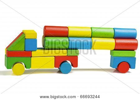 Toy Car, Multicolor Truck Wooden Blocks Transportation, Cargo Delivery, Isolated White Background