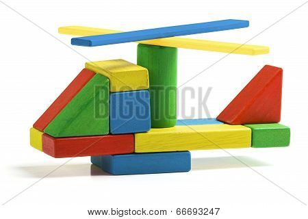 Toy Helicopter, Multicolor Wooden Blocks Air Transport Over White Background