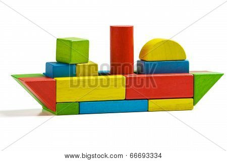 Toy Ship Wooden Blocks, Shipping Multicolor Freight, Isolated White Background