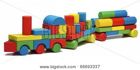 Toy Train Goods Van, Wooden Blocks Cargo Railway Transportation, Isolated White Background