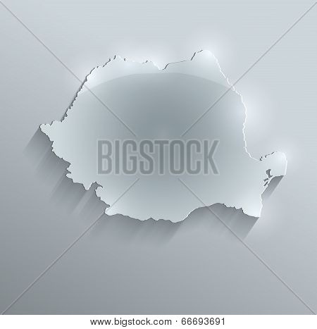 Romania map glass card paper 3D raster
