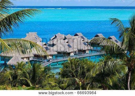 Azure lagoon of island Bora Bora Polynesia.