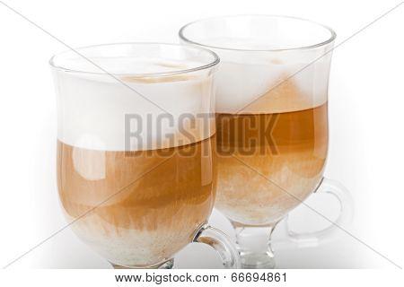 Two Big Mugs With Handles Of Latte Coffee, Macro Photo