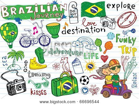 Brazilian travel, doodles - football, Brazilian accessories, clothes, trees, musical instruments, animals. For banners, sport backgrounds, presentations