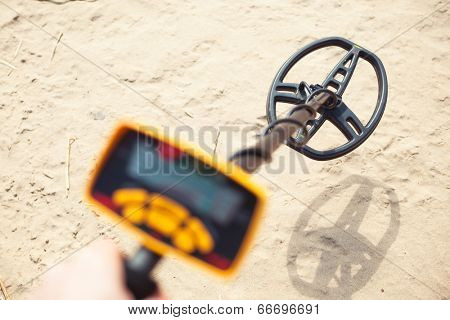 metal detector in action