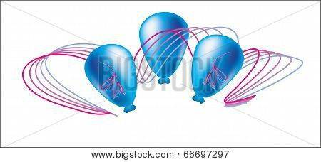 Three Blue Ball With Holiday Ribbon Vector Illustration
