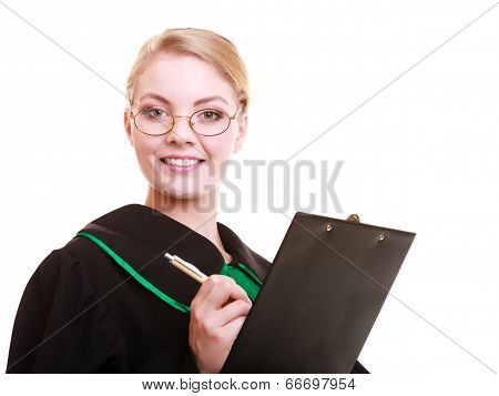 Woman Lawyer Attorney In Classic Polish Gown Writing On Clipboard