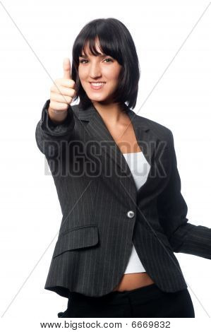 Businesswoman with a blank card