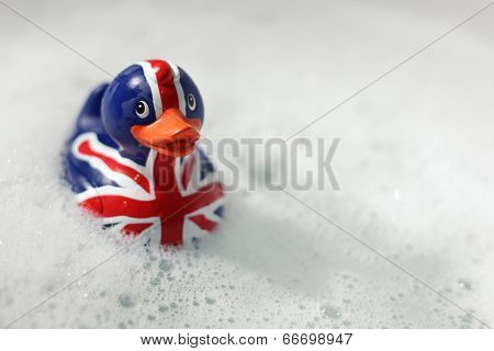 British flag rubber duck in the bath... Britannia rules the waves concept