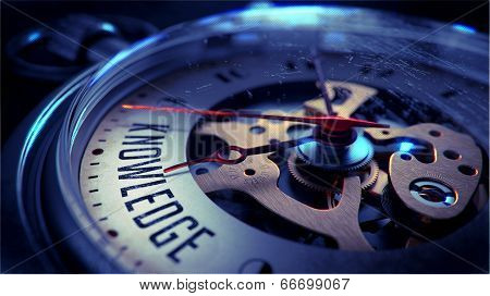 Knowledge on Pocket Watch Face. Time Concept.