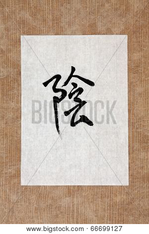 Chinese yin symbol in mandarin calligraphy script on rice paper over brown paper background. Translation reads as yin.