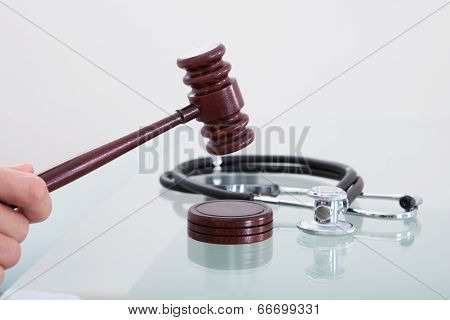 Judges Gavel And A Stethoscope In A Conceptual Image