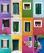 stock photo of front-entry  - Collection of windows and doors on colored walls in Venice - JPG