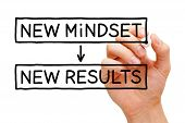 foto of summary  - Hand writing New Mindset New Results with black marker on transparent wipe board - JPG