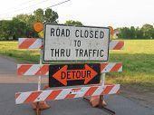 stock photo of traffic sign  - Road closed to thru traffic sign - JPG