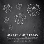 image of adornment  - Christmas snowflake blackboard chalkboard vetor flake template - JPG