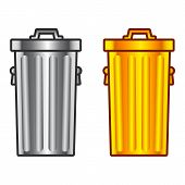 image of dustbin  - Two gold and metal - JPG