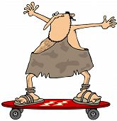 stock photo of caveman  - This illustration depicts a caveman riding on a skateboard - JPG