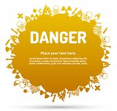 pic of biological hazard  - Danger sign set in cloud banner for your text - JPG