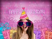 image of crazy hat  - funny girl with party hat - JPG
