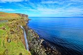 stock photo of kilt  - Coastline and waterfall at Kilt Rock - JPG